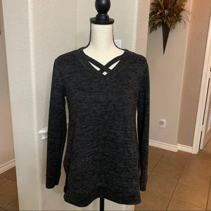 Bellamie cozy black marled long sleeve sweater